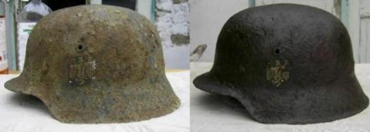 """Lengyelországi harcok emlékére!"""" Német M42 Stahlhelm"""".Wehrmacht."""